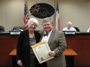 Carol Light and Mayor Dale Ross at the Nov. 8, 2016 City Council Meeting